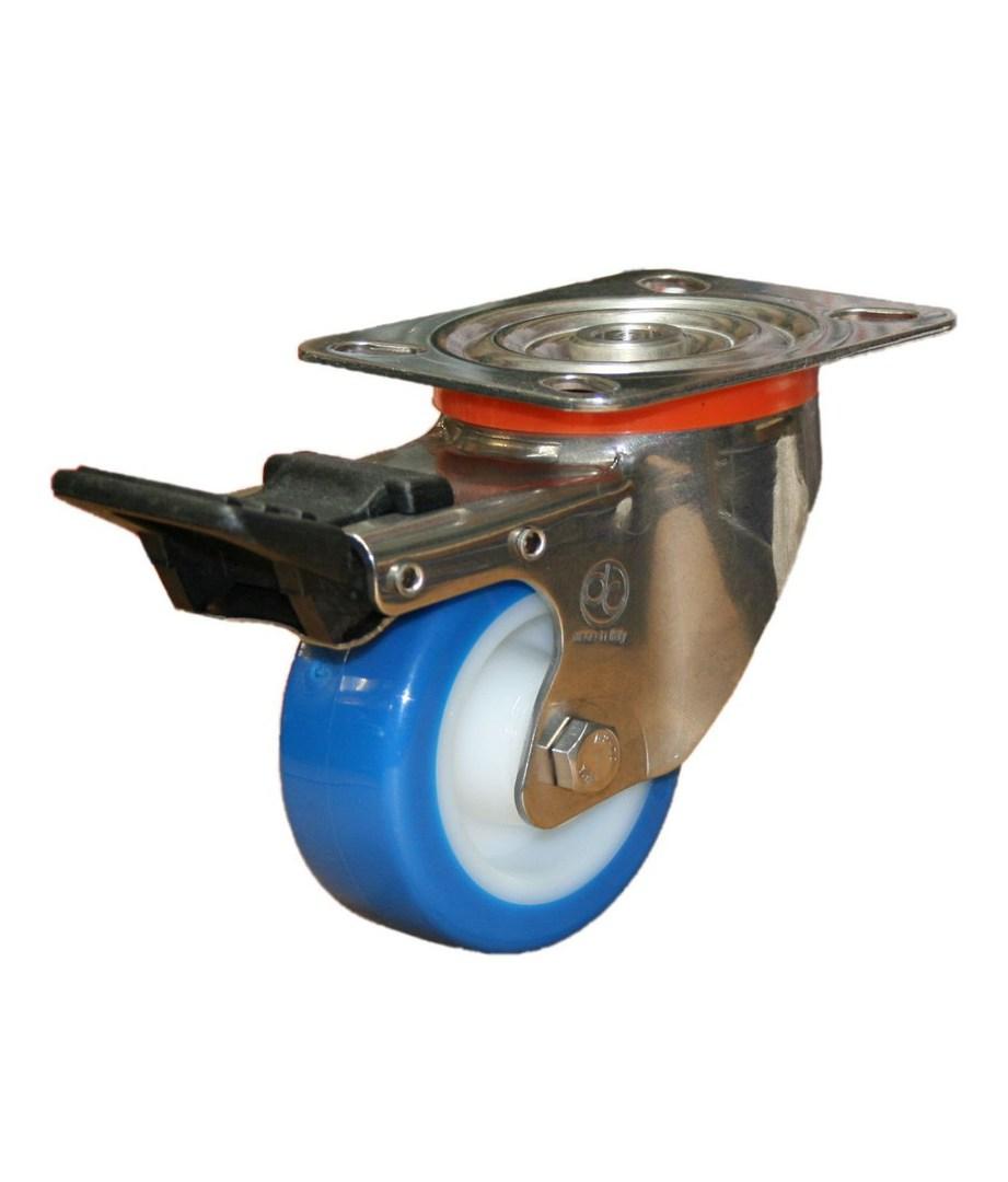 Swivel & Total Brake 80mm Urethane Castor - Stainless Steel - MSU80/SP-TB image 0