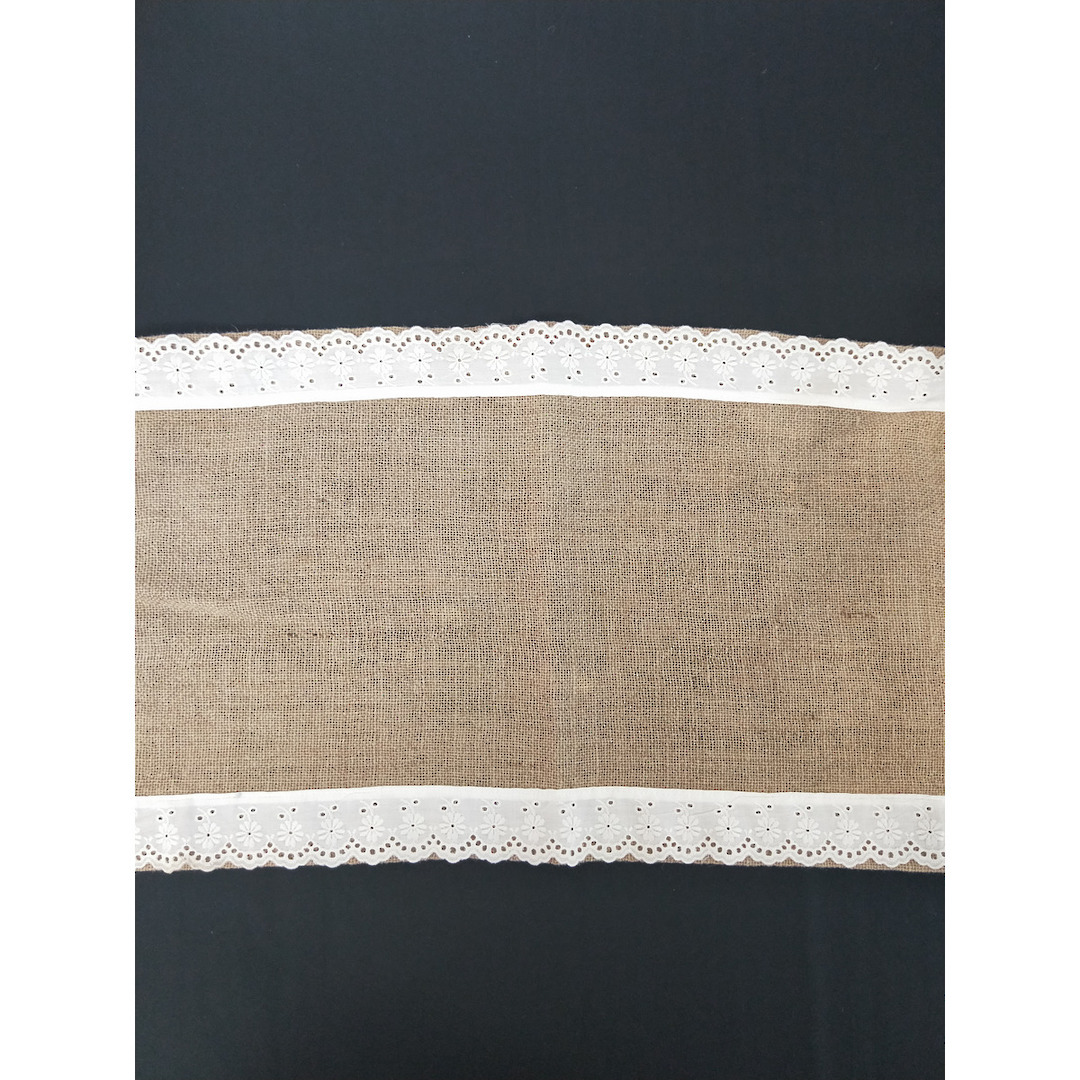 Table Runner - Hessian with Lace image 0