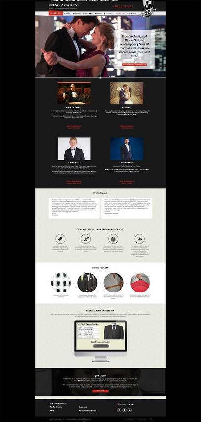 Frank Casey Suit Hire Website designed by Zeald