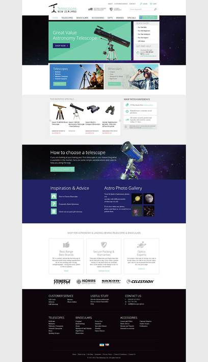 Telescopes New Zealand Website Design by Zeald