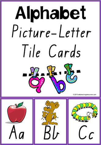 Alphabet  Picture-Letter |  Tile Cards | VIC Print