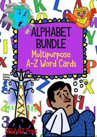 Alphabet | A-Z Word Cards | BUNDLE |  NSW-NZ Print