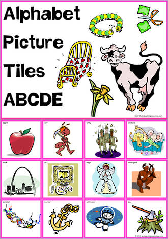 Alphabet | A B C D E Picture | Tile-Cards