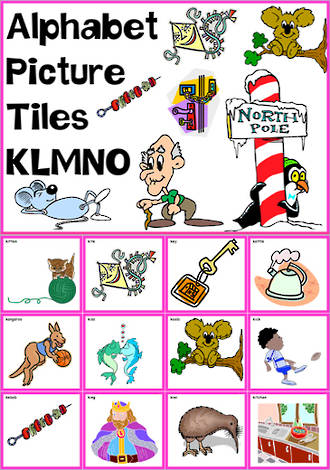 Alphabet  |  K L M N O Picture Tile-Cards