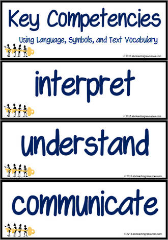 Key Competencies | Using Language, Symbols and Text | Vocabulary | Cards
