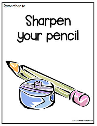 Remember To | Sharpen Your Pencil | Chart