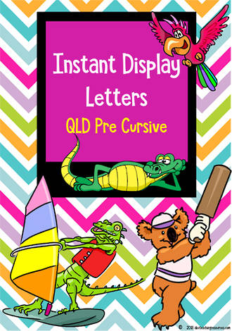 Instant Display  | Uppercase & Lowercase Letters  | Chevron Design | QLD Pre Cursive