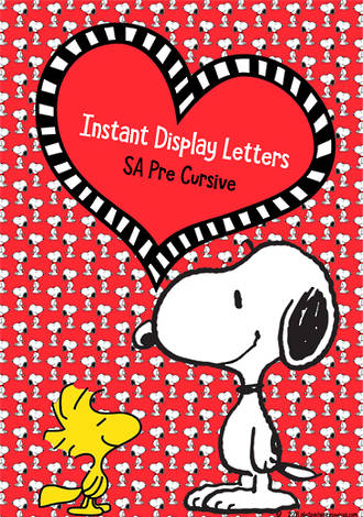 Instant Display | Uppercase & Lowercase Letters | Snoopy Design | SA Pre Cursive