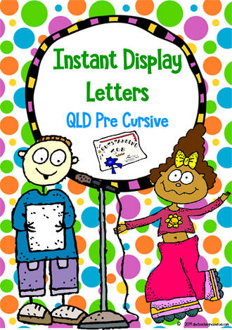 Instant Display | Uppercase & Lowercase Letters | Polka Dot Design | QLD Pre Cursive