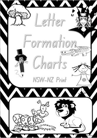 Foundation Handwriting | Letter Formation | Black and White | Charts | NSW - NZ Print
