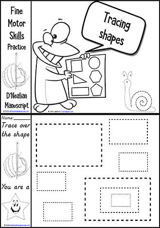 Kindergarten Handwriting | Practice | Tracing Shapes | Black and White Charts | D'Nealian Manuscript