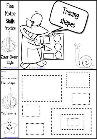 Kindergarten Handwriting | Practice | Tracing Shapes | Black and White Charts | Zaner-Bloser Style