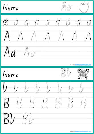 Foundation Handwriting | Practice | Lowercase - Uppercase  Letter | Cards | VIC Print