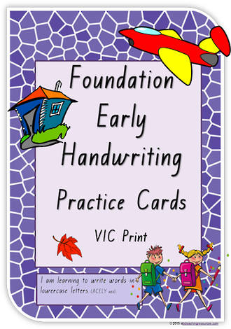 Foundation Handwriting  | Practice | Lowercase Words | Cards | VIC Print