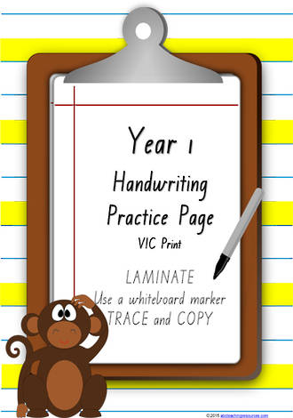 Year 1 Handwriting | Practice | Number| Laminate Cards | VIC Print