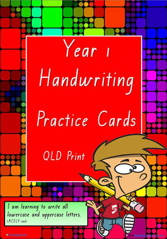 Year 1 Handwriting | Practice | A-Z Letter- Word - Number | QLD Print