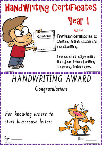 Year 1 Handwriting | Visible Learning | Certificates | QLD Print