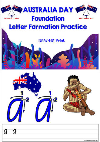 Australia Day | Foundation Handwriting | Letter Practice | NSW-NZ Print