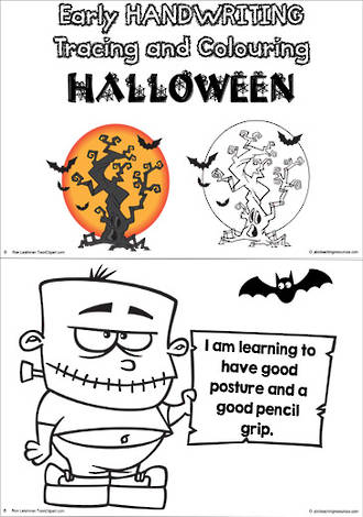 Spooktacular Halloween | Early Handwriting | Trace and Colour