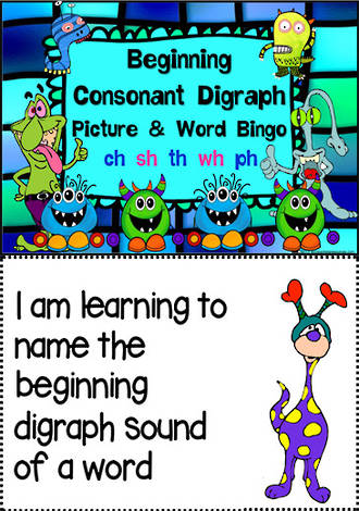 Beginning Digraphs | Picture & Word Bingo