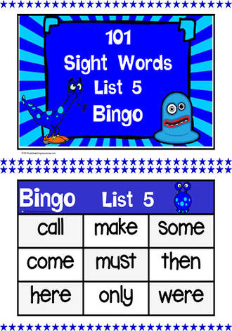 101 | Indigo | List 5 | Sight Words | Bingo