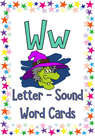 Letter Ww | Word | Cards | KBbubblegum