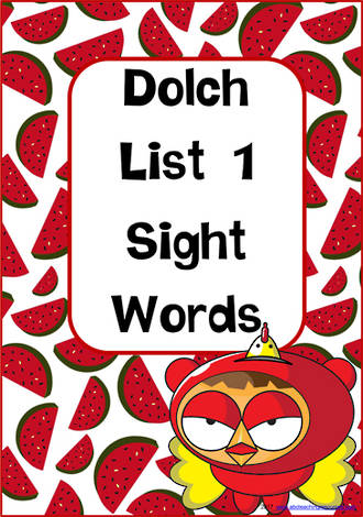Sight Words |  Dolch  Pre-Primer | List 1 | Cards
