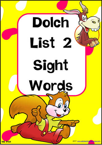 Sight Words |  Dolch Primer | List 2 | Cards | VIC Print