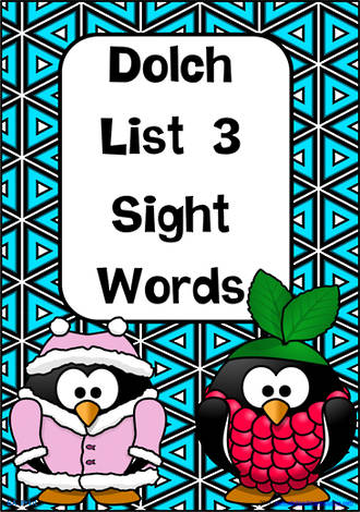 Sight Words |  Dolch Grade 1 | List 3 | Cards | SA Print