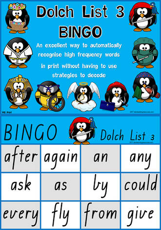 Sight Words |  Bingo Game |  Dolch Grade 1 | List 3  | VIC Print