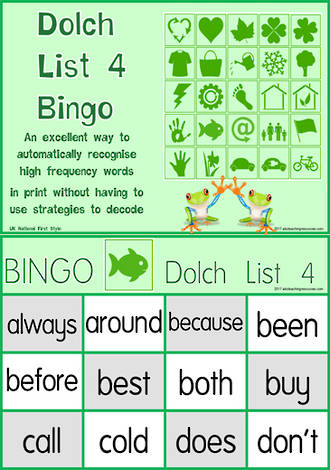 Sight Words | Bingo Game | Dolch Grade 2 | List 4 | National First Style