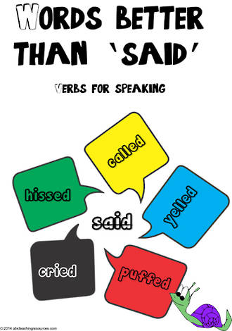 Verbs For Speaking | Words Better Than 'SAID' | Chart 1