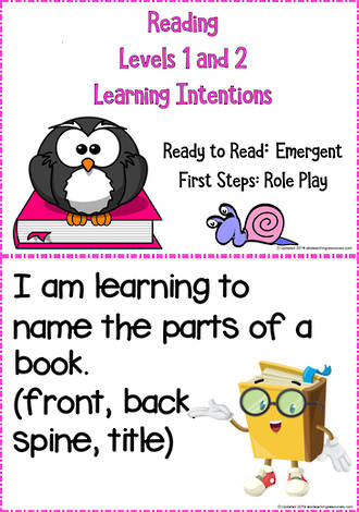 Emergent | Reading Progressions  | Levels 1 and 2 |  Learning Intentions