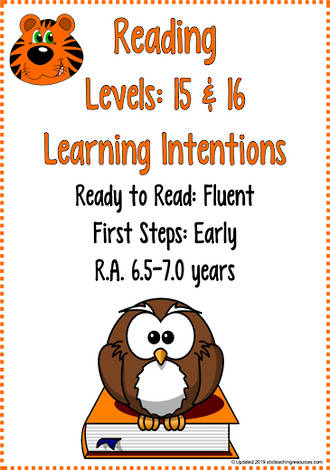 Reading Progressions| Levels 15 & 16 | Learning Intentions | R.A. 6.5 years  - 7 years
