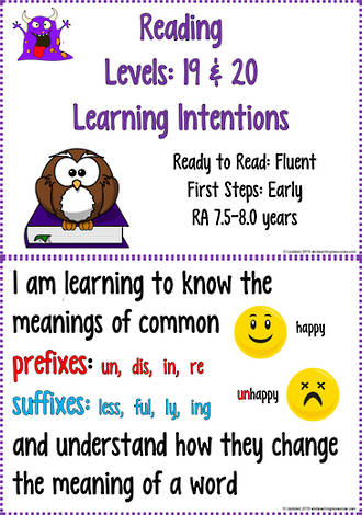 Reading Progressions | Levels 19 & 20  | Learning Intentions | R.A. 7.5 years - 8.0 years