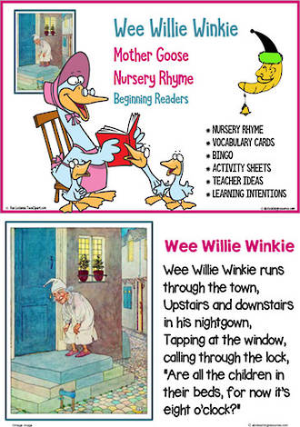 Nursery Rhyme | Wee Willie Winkie | Emergent Reading  Activities