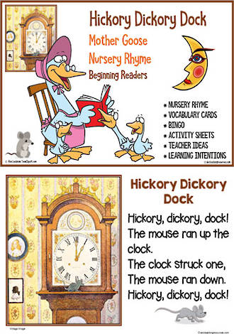 Nursery Rhyme | Hickory Dickory Dock | Emergent Reading  Activities