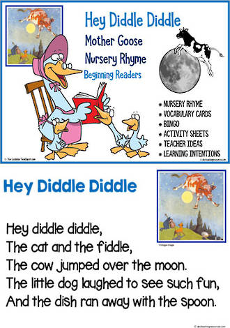 Nursery Rhyme | Hey Diddle Diddle | Emergent Reading  Activities