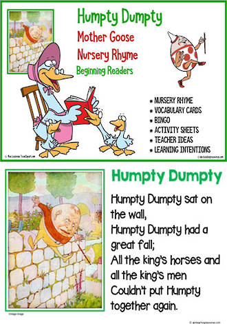 Nursery Rhyme | Humpty Dumpty | Emergent Reading  Activities