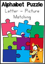 Alphabet Letter-Picture Matching Puzzle | Zaner Bloser Style