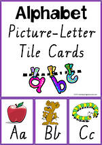 Alphabet  Picture-Letter |  Tile Cards | VIC PreCursive