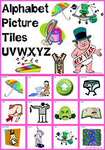 Alphabet  |  U V W X Y Z  Picture Tile-Cards