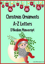 Christmas | Alphabet |  Ornament Cards | D'Nealian Manuscript
