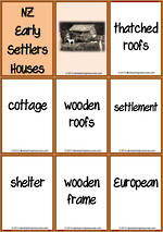 New Zealand Early Settlers Houses | Vocabulary | Tile Cards