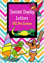 Instant Display | Uppercase & Lowercase Letters | Chevron Design | VIC Pre Cursive