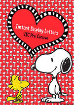 Instant Display   Uppercase & Lowercase Letters   Snoopy Design   VIC Pre Cursive