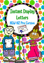 Instant Display | Uppercase & Lowercase Letters | Polka Dot Design | NSW-NZ Pre Cursive