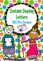 Instant Display | Uppercase & Lowercase Letters | Polka Dot Design | VIC Pre Cursive