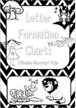 Kindergarten Handwriting | Letter Formation | Black and White | Charts | D'Nealian Manuscript