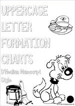 Kindergarten Handwriting |UPPERCASE  Letter Formation | Charts | D'Nealian Manuscript